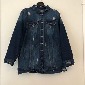 Torrid distressed heavy denim jean jacket 3X